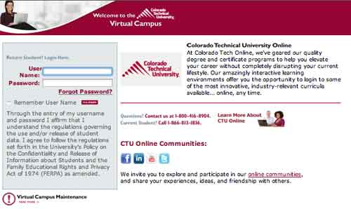 Login page to your Colorado Technical University account